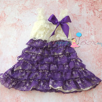 Stunning Ivory Purple Vintage Lace Dress,baby girls dress, ruffle dress,baby dress,Birthday outfit, girls outfit, flower girl dress, wedding