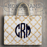 Monogrammed Gold/White Geometric Clover Print Large Jute Tote  Font show NATURAL CIRCLE in navy