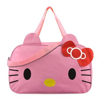 Hello Kitty Women's Travel Bag Girl's Cute Messenger Handbag Clothes Storage Organizer Shoulder Accessories Supplies Product