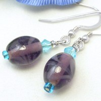 Oval Purple and Blue Glass Beaded Sterling Earrings