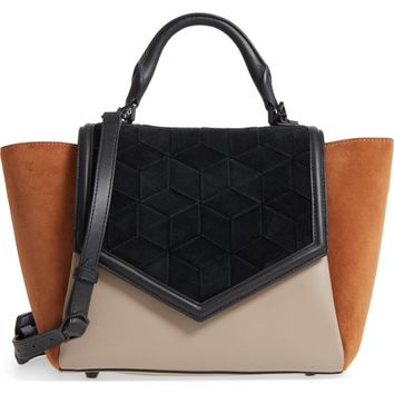 WELDEN Saunter Colorblocked Leather & Suede Top Handle Satchel | Nordstrom
