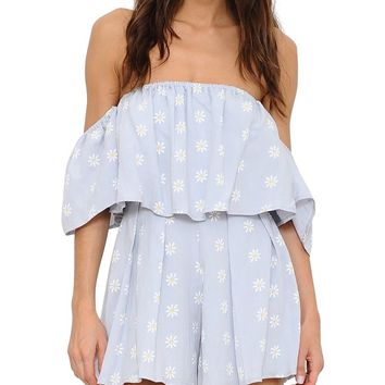 Daisy Print Off-the-Shoulder Romper