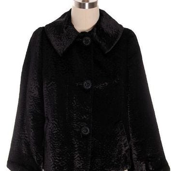 Vintage Faux Broadtail Lamb Swing Jacket Womens Faux Fur Black Large 1940s