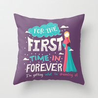 Frozen For the First Time in Forever Throw Pillow by Risa Rodil