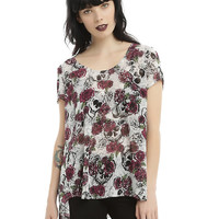 Burgundy & Black Floral Skull Chiffon Girls Hi-Low Hem Top