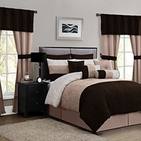 Geneva Home Fashion 20-Piece Lenox Comforter Set, King, Taupe/Grey/Chocolate