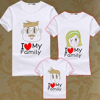 ONETOW Summer Family Matching Clothes Boys T Shirt Men Women Family Look T Shirts Kids Love Heart Tee Mother Son Tops Girls T-shirts