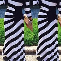 Striped Fitted  Long Maxi Dress