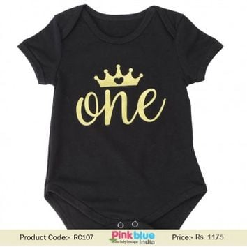 Infant Girls Crown Print Black One Piece Romper Dress for 0 to 12 months