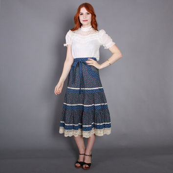 70s GUNNE SAX SKIRT / 1970s Blue Floral & Lace Tiered Full Midi xs