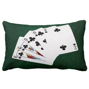 Poker Hands - Flush - Clubs Suit Lumbar Pillow