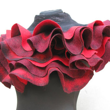 Handmade Felted shawl scarf wrap Red black burgundy by ProninA