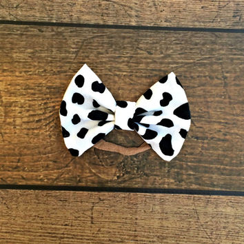 dalmation baby bow, baby bows, baby headband, newborn headband, baby girl bow headbands, baby bow set, hair bows, baby shower gift, bow set