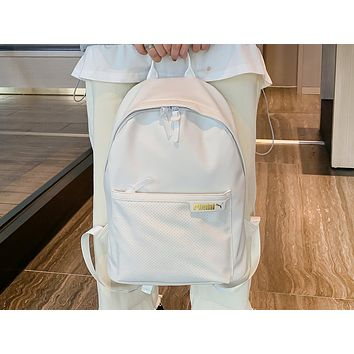 PUMA fashion hot seller women's casual solid color backpack White