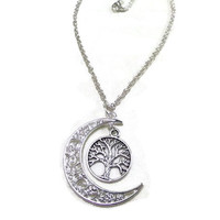 Silver Moon and Tree of Life Necklace, Crescent Moon Necklace, Tree Necklace, Celestial, Moon Jewelry, Tree Jewellery, Nature Necklace, Boho