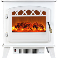 "Portable Freestanding Electric Fireplace, White, 20"" - Beach Style - Freestanding Stoves - by AKDY Home Improvement"