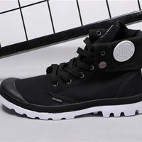 Best Deal Online PALLADIUM Canvas Men Women Sport Cuff Boots Black White