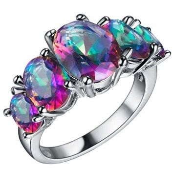 Mystic Rainbow Fire Topaz Ring Solid 925 Sterling Silver Sizes 6 7 8 9 US Seller
