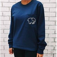 Women Long Sleeve Cute Elephant Pattern Sweatshirt Ivory Ella Letters Printed Pocket Pullover Tops Dark blue I
