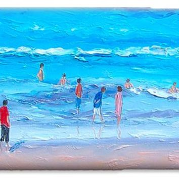 Beach Painting - Last swim of the day iPhone 6 Case