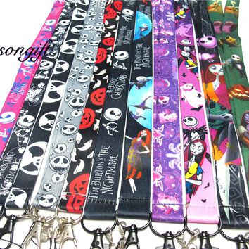 Kids The Nightmare Before Christmas Keychian  Lanyard Badge ID Cards Holders JACK Pumpkin Mobile Phone Key Straps
