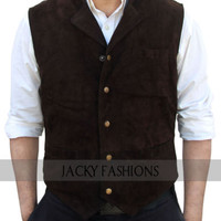The Magnificent Seven Chris Pratt Vest in Brown Suede Leather