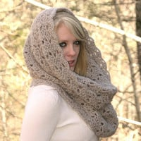 Fog  - Textured Chunky Cowl Scarf Snood or  Capelet Winter Fashion