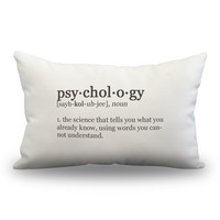 "Psychology Definition Pillow Cover- Off White Color - Zipper Enclosure -12""x18"""