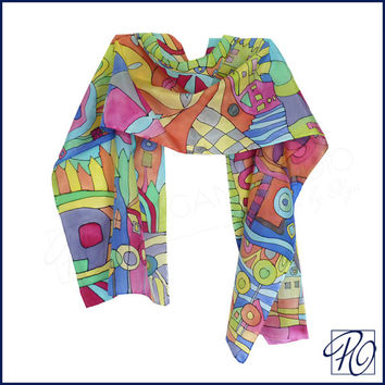 Hand Painted Silk Scarf Hundertwasser - 'Inspired by' - Silk Scarf Green Orange Blue Red. Multicolor Scarf 15x58 inches.READY TO SHIP.