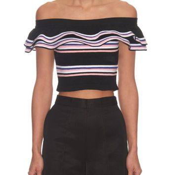 Off-the-shoulder stripe knit top | MSGM | MATCHESFASHION.COM US