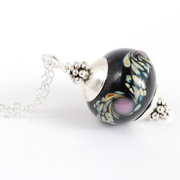 Black Lampwork Necklace. Long Silver Necklace