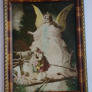 Rare Unique Antique Icon / Angel Guard with children kids boy girl / original litho print under glass / wooden golden frame / religious