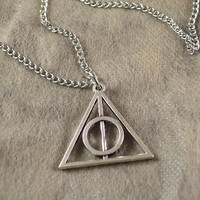 harry potter the death hallows necklace silver vintage style chain charm necklace