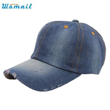 Womail Good Deal High quality Jean Hat Washed Cotton Adjustable Solid color Unisex Casual Denim Baseball Cap Drop shipping 1pc*7