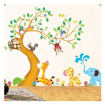 Oversize Jungle Animals Tree Monkey Owl Removable Wall Decal Stickers Nursery Room Decor wall stickers for kids rooms NL884
