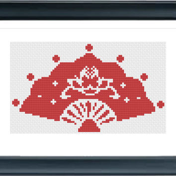 Fan QT1054, Cross Stitch Pattern, Modern Cross Stitch Pattern, Easy Cross Stitch, Chinese Cross Stitch, Needlepoint Patterns, AprilBeeShop