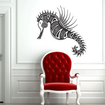 Wall decal decor decals sticker hippocampus sea horse ocean animals fish curl tattoo aquarium (m300)