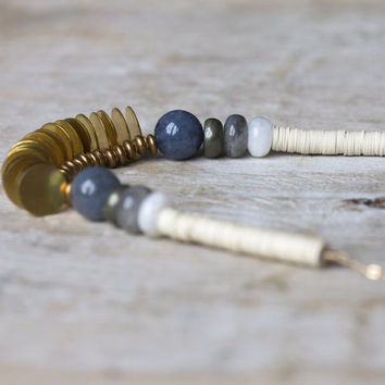 Brass discs necklace: moonstone, pyrite, labradorite and white vintage sequins brass necklace