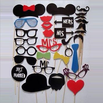 New Wedding Party Favor Gift DIY Party Masks Photo Booth Props Mustache On A Stick = 1933069700