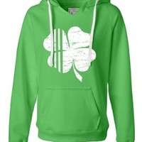 Womens Shamrock St. Patrick's Day Irish Pride Four Leaf Clover Deluxe Soft Sweatshirt Hoodie