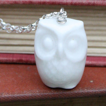 Porcelain and silver owl necklace in white by madebymememe on Etsy