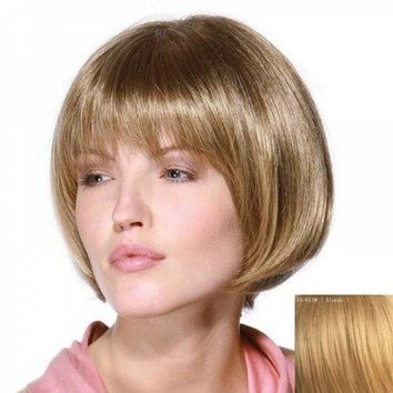 Stunning Full Bang Capless Stylish Bob Style Short Straight Real Human Hair Wig For Women - Blonde
