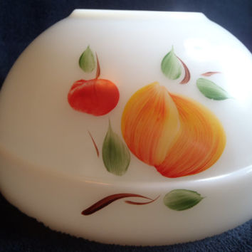 Fire King Mixing Bowl in Milk Glass and Hand Painted ,  Anchor Hocking Bowl Gay Fab