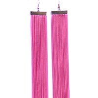 Fringe Earrings. Very Long Earrings. Dangle Pink Earrings. Shoulder Duster Earrings