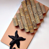 Peach Wine Cork Board with Starfish Hook - Beach Decor Cottage Chic Home Decor