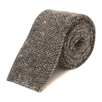 Grey Donegal Barley Stitch Knitted Tie - Knitted Ties - Shoes & Accessories - Shop online