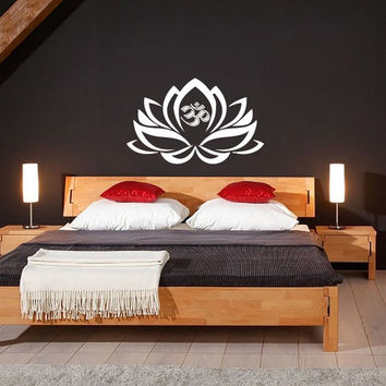 Lotus Flower With Om Sign Yoga Wall Decals - Wall Vinyl Decal - Interior Home Decor - Housewares Art Vinyl Sticker = 1933254980