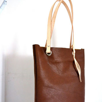 Tan Brown Leather Tote Bag, Wife Gift, Vegetable Tanned Leather Straps, Cognac Leather Shopper Tote, Leather Laptop Tote, Diaper Bag
