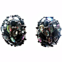 Black Rhinestone Earrings AB Finish Crescent Dome