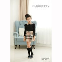 Girls Classic English Plaid Puff Sleeve Summer Dress